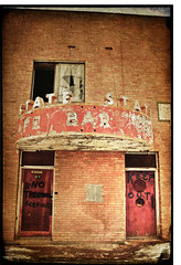 State of Disrepair (Uncle Bumpy) Tags: old abandoned sign bar condemned cafe nevada rusty nv elko carlin notrespassing keepout