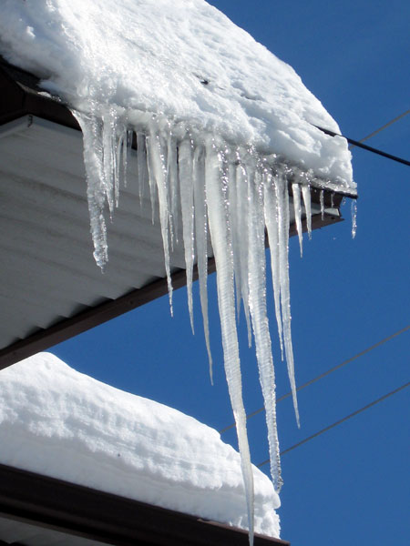 Icicles Dangling from Roof