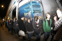 The queue (JamFactory) Tags: uk party night bristol toy gallery vinyl exhibition fisheye plastic droplet launch showcase s2 series2 jamfactory fiftyfifty crazylabel