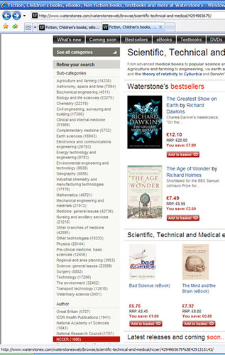 screengrab - Waterstone's Science Books