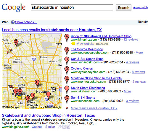 Google Local Sponsored Results