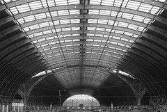 Arcs; Paddington Station roof, London (Mo Baig) Tags: blackandwhite bw abstract london architecture train mono nikon arch engineering allrightsreserved paddingtonstation brunel isambardkingdombrunel urbanblackandwhite nikond40x nikkor35mmf18afs mobaig