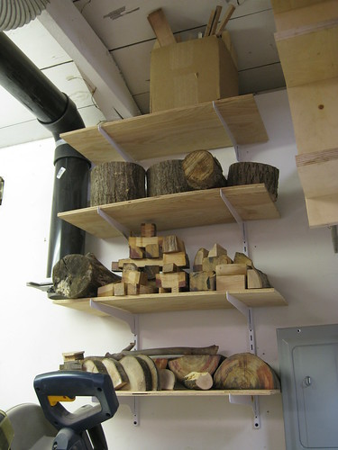 green wood shelves