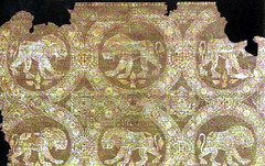 lion passing motif Sasanian cloth 7th-8th c (julianna.lees) Tags: ancient silk textiles sassanian