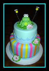 Frog Birthday Cake... (It's All About the Cake) Tags: birthday pink orange water yellow cake stripes bees frog figurines lilypad tiers fondant buttercream