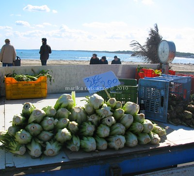 market on the beach in Puglia