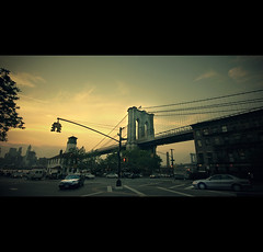 Brooklyn bridge a year ago (NikolaT) Tags: street new york city nyc trip travel bridge light sunset sky sun ny color brooklyn photoshop canon movie raw walk year landmarks scene ago 2009 2010 xsi cs3 sigma1020 newyorkcitylandmarks singleraw 450d cinematix nikolat nikolatomovic almostloomax
