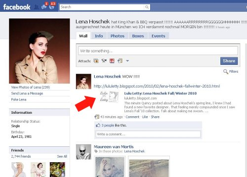 Lena Hoschek's Facebook 02.24.10