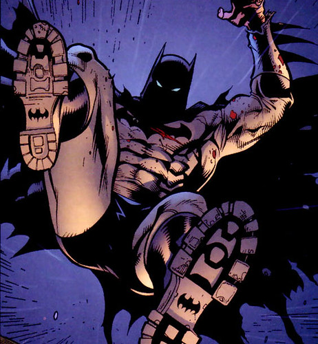 I never noticed the BAT!logo on the bottom of Batman's boots before. Oh Bruce :')