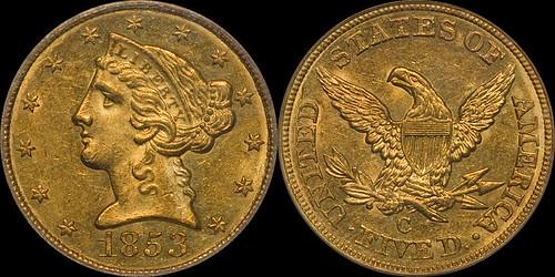 1853-C $5.00 PCGS MS61