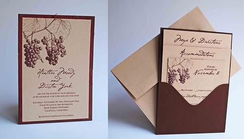 Wine Wedding Theme Pocket Invitation