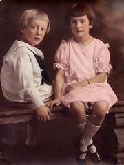 Robert & Helen Turner circa 1920 (Buttons McTavish) Tags: family 1920s vintage siblings maryjanes sailorsuit handtinting bobhaircut traditionalphotograpymethods