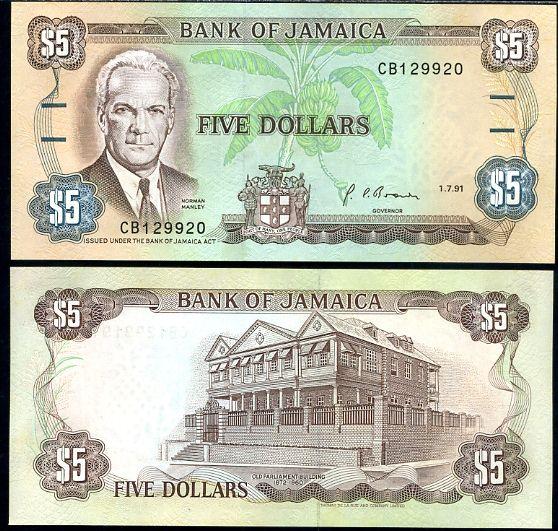 Jamajka - JAMAICA 5 DOLLARS 1.7.1991 P70