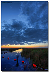 Start of the Blue Hour (Fraggle Red) Tags: clouds reflections evening canal florida dusk bluehour buoys canonef1740mmf4lusm hdr pompanobeach c14 buoyant 3exp browardco dphdr watermanagementdistrict