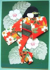 ATC150 - Blossoms (tengds) Tags: flowers red white green atc kimono papercraft japanesepaper washi ningyo handmadedoll handmadecard chiyogami yuzenwashi japanesepaperdoll washidoll origamidoll tengds germanpattern