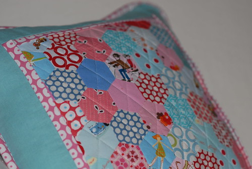 Close-up of quilting and hexies