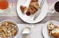 Breakfast... (aisha.yusaf) Tags: food breakfast milk nikon tea juice croissant jam muesli homemadejam chocolatemuffins d700 2470mmf28g raspberrystrawberryjam