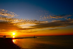 Heading for the Sunset! (ineedathis, Everyday I get up, it's a great day!) Tags: blue sunset sea sky people orange sun newyork beach water colors clouds reflections walking fishing fisherman nikon huntington father daughter longisland goldenhour northport d80 crabmeadow