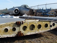 Sadness - Defined as a de-winged aircraft (zJMac) Tags: hinge graveyard airplane fighter wing jet rusty dreams detached latch zjmac