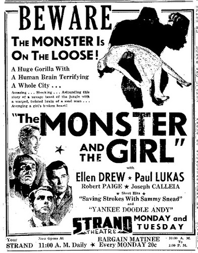 THE MONSTER AND THE GIRL (1941) Newspaper advertisement 6-29-41