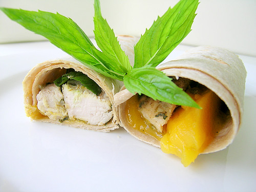 Chicken Wraps With Mango, Basil and Mint