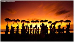 Happy Saka New Year (myudistira) Tags: sunset bali beach silhouette work temple photographer pray ceremony culture double six siluet kuningan freelance 2010 adat budaya balinese seminyak nyepi fotografer unik yudis galungan melasti myudistira madeyudistira mekiyiis yudist