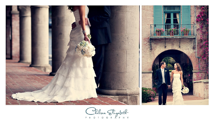 Italian Villa inspired wedding portrait teal window and boganvilla