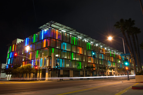 california longexposure color building green architecture night parkinggarage santamonica leed