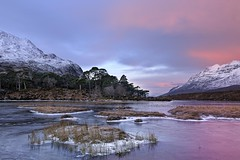 Pink Winter Sunrise on Loch Clair 1- Torridon, Scotland (cedric_g) Tags: pink winter mountain snow ice sunrise landscape scotland loch torridon liatach lochclair scotlandlandscape visipix stucachoiredhuibhbhig
