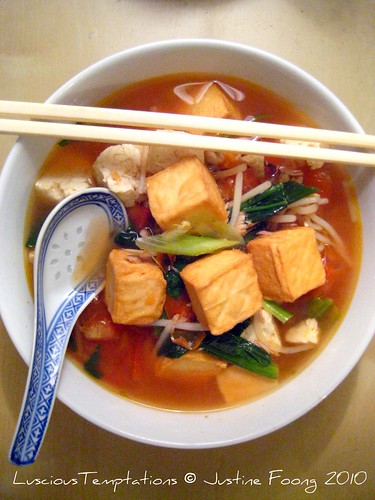 Tomato Udon with Tofu, Fish Tofu and Vegetables - Weeknight Dinner
