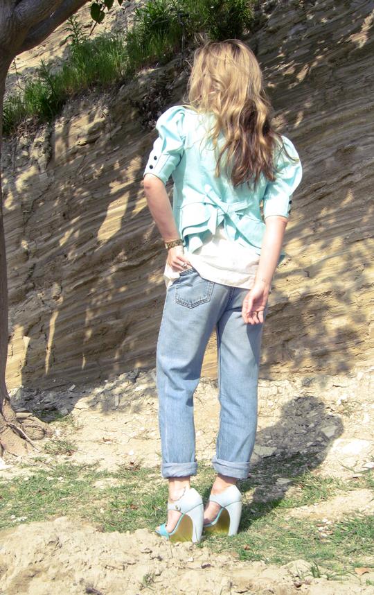 peplum jacket, vintage washed levi denim jeans cuffed 2