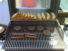 Hamburgers And Hotdogs On The New Weber Grill