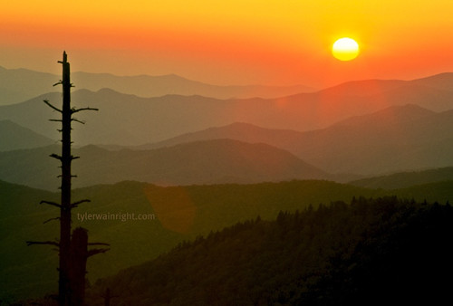 Fall Smoky Mountain sunset from Clingman's Dome