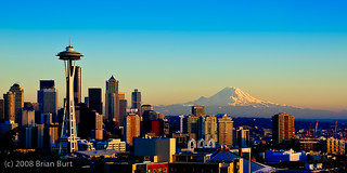 Seattle Skyline with Space Needle & Mt. Rainier at Sunset