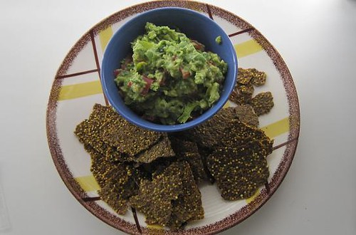 organic guacamole with LeafOrganic raw flax seed chips