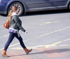 Stroll (K J Payne) Tags: shadow woman leather fashion fuji place boots market walk coat salisbury pace stroll s1500 jeggings