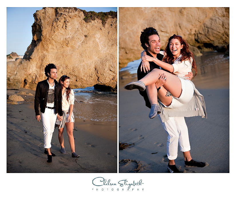 love on the beach in malibu at sunset