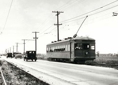 Historic Photo!. Chicago & Joliet Electric Railway car # 242 heading southbound on Archer near Roberts Road. Justice Illinois. Early 1930's.