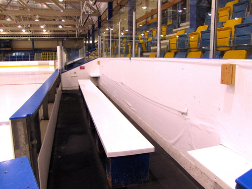 Player box at the Father Bauer Arena