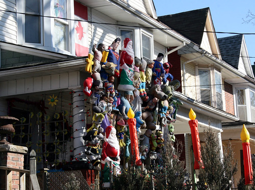 Side view of a strangely decorated house in Toronto