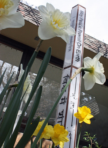 peace pole with daffodils
