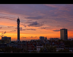 Yet another day has come and gone. (edmundlwk) Tags: sunset red england london clouds golden holborn bloomsbury bttower streaks cloudscape goldenhour 1755f28is canon450d rebelxsi