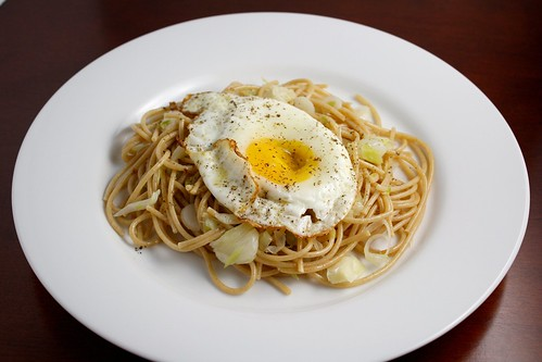 Whole Wheat Pasta with Green Garlic and a Fried Egg