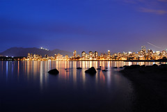 City by the Sea (M.Bohm Photography) Tags: ocean city travel sunset sea sky canada west reflection building beach water skyline night vancouver dark lights evening coast twilight nikon long exposure bc pacific northwest top columbia canadian shore destination coastline british 1855mm candian d3000