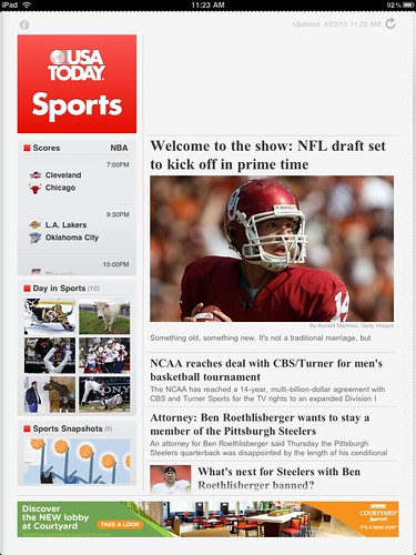 USA TODAY for iPad Sports section