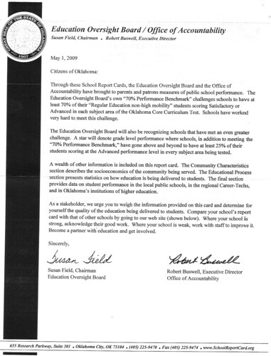 May 2009 letter to Oklahoma Citizens