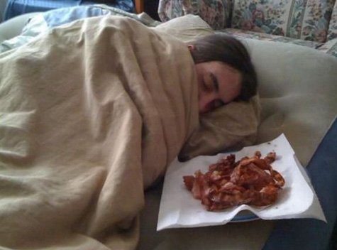 Waking up to a plate of bacon