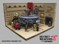 Secret Weapons of the Luftwaffe: F-W P8 (2 Much Caffeine) Tags: lego hangar ww2 moc luftwaffe flyingdisc secretweapons mlitary dieselpunk foitsop dieselpulp
