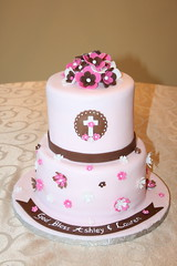 First Communion Cake (irresistibledesserts) Tags: pink flowers brown white girl cake first communion corss
