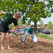 Students work in the EMU campus garden.
